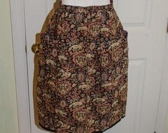 Vintage 1960's Tina Leser Stag Tapestry Skirt