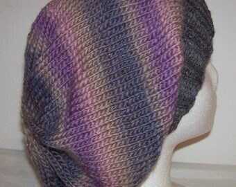 Wool/Nylon Slouch Hat - Slouchy Knit Beanie - Hand Knit Hat - Knitted Womens Slouchy - Wildwood