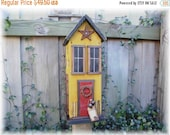 SPRING SALE Primitive Country Farmhouse Rustic  Folk Art Birdhouse