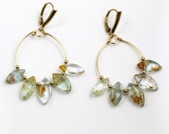 Aquamarine Hoop Earrings - Gold Fill - Aquamarine Earrings - Flower Hoops