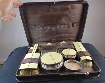 Vintage Brown Leather Toiletry Travel Case with Original Glass and Silver Chrome Enamel Bottles Jars and Brushes Set  1920's - 1930's