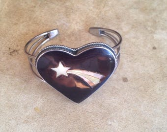 Vintage 1980s Alpaca Sterling Silver Heart Bracelet w/ Abalone Shooting Star Inlay
