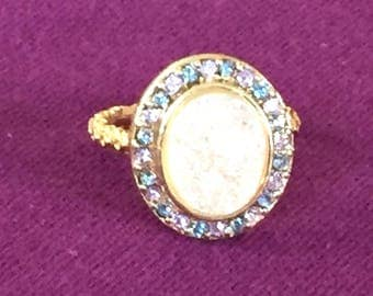 SALE Dara Ettinger BETH Druzy Ring in 14kt Gold/ Halo/ Pink Multi Crystal sz 5