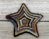 Primitive Rug Hooking - Hand Hooked Hit or Miss Star (Free Shipping)