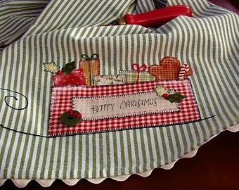 Christmas Kitchen Towel Holiday Home Decor Santa Sleigh Gingerbread Man Visions of Sugar Plums Vintage Postcard Style Green White Stripe