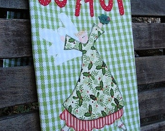 Appliqued Tea Towel | Kitchen Towel | Country Home Decor | Applique Joyful Angel | Green White Check Towel | Holly Button | Country Decor