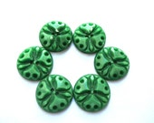 6 Vintage flowers buttons plastic 18mm, green, RARE