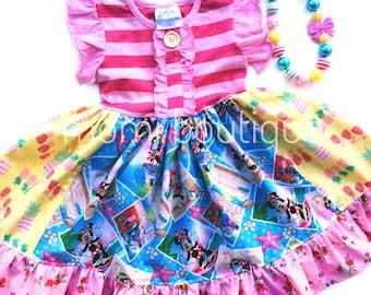 Minnie Mouse Aulani Hawaiian luau Disney dress Pink Momi girls boutique clothing