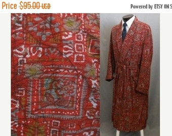 MOVING SALE Vintage 50s Smoking Robe, 1950s Abstract Print Gray and Rust Silk Wrap Robe, Original Belt, State O Maine, Size M to L