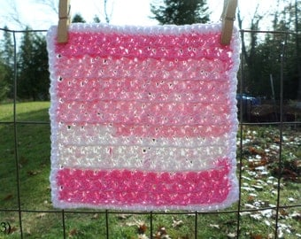 Pink Striping with White Border Hand Crocheted Wash/Dish Cloth 100% Cotton