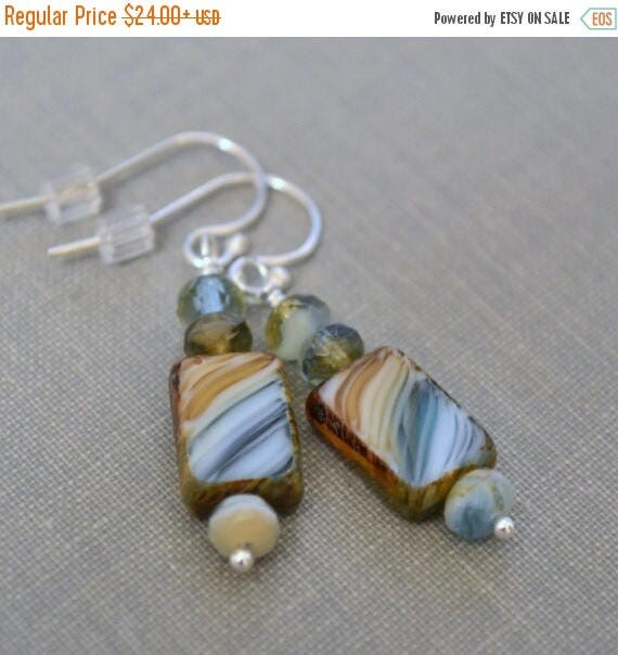 Sale 40% OFF Beach Earrings, Brown Turquoise Beach Glass Earrings, Sterling Silver Lever Back Earrings