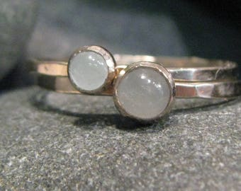 14k White Gold Birthstone Rings. Hammered Band. Stackable. Engraveable
