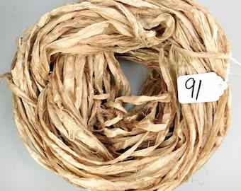 Sari silk Ribbon, Recycled Silk Sari Ribbon, Tan sari ribbon, Tan silk sari ribbon, weaving supply, knitting supply, jewelry supply