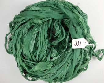 Silk Sari ribbon, Sari silk ribbon, Silk Chiffon Sari Ribbon, green sari ribbon, chiffon ribbon, green ribbon, tassel supply
