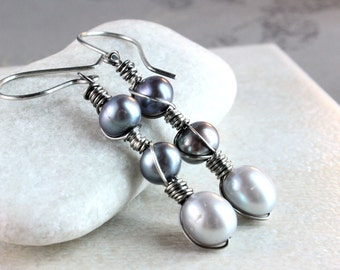 Grey Pearl Earrings Oxidized Silver  June Birthstone Earrings  Jewelry  Wire Wrapped Birthday Gift For Her