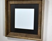 Square picture frame 12x12 uold weathered wood with mat for 10x10 or 8x8 photo or print free US shipping