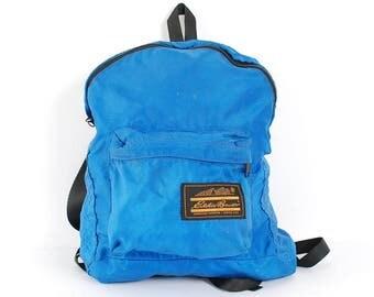 EDDIE BAUER blue canvas 80s 90s mini BACKPACK unisex grunge knapsack