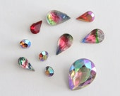 ONLY LOT - Vintage mixed rainbow glass stones (10)