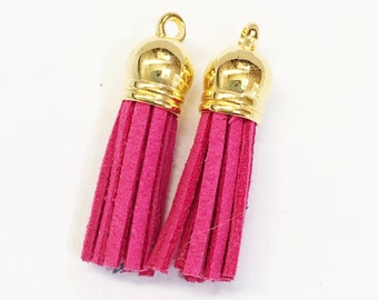10 pcs of Suede tassel with gold plated cap, bulk necklace tassel, earring tassel  37x10mm, Fuchsia