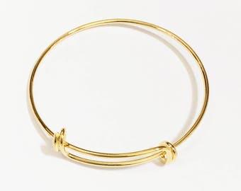 Bulk 10 pcs Adjustable wire bangle, Gold plated brass bangle, bulk wire bangle 7 to 9 inch