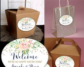 """Wedding Welcome Box Favor Stickers for Welcome Bag or Box - Oval 3.25"""" x 4.25"""" Label Flowers and Confetti - Customize Wording"""