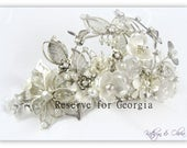 Silver Bridal Tiara Crown Headpiece Rhinestones White Pearls Vintage Frosted and White Pearl Lucite Flowers Antique Silver ColorPP-HP4920