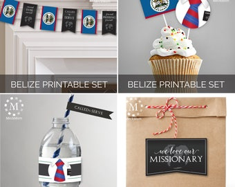 INSTANT DOWNLOAD - Belize -  Missionary Farewell Welcome Home Decoration Printable Set for Elders