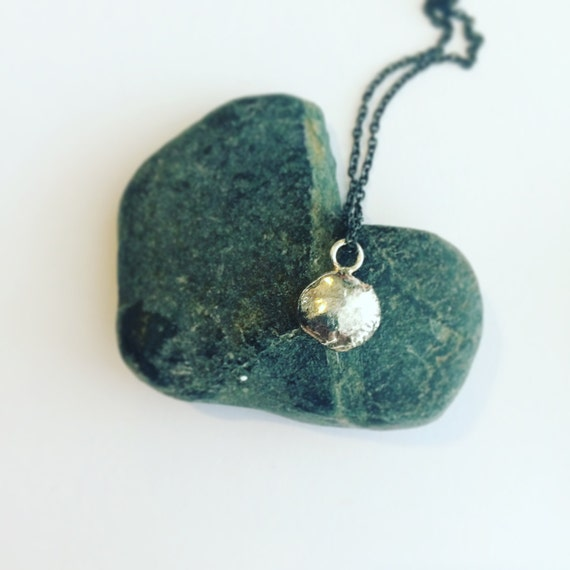 Silver Recycled Pebble Pendant on Blackened Brass Chain - Eco - Rock - Simple - Sea - Unique - Cornish - Classic - Minimal - Geode -