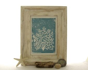Coral Art Print, Sea Life Picture, Blue Ocean Print, Ocean Linocut, Blue Coral Print, Nautical Wall Decor, Beach Cottage Print, Hand Pulled