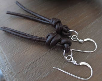KALA ILI...Leather and Sterling Silver Knotted Dangle Earrings//Shoulder Dusters//Long Leather Earrings
