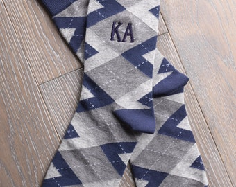 Monogrammed  ARGYLES With Embroidered Initials - Grooms Socks, Groomsmen Socks, Wedding Gift, Wedding Party, Anniversary Gift