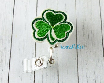 Shamrock Felt ID Badge Holder with Retractable Badge Reel for St Patrick's Day by SantaFeKiss