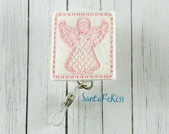 Little Angel Felt ID Badge Holder with Retractable Badge Reel handmade by SantaFeKiss