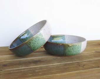 Sea Mist and White Ceramic Soup Bowls, Pottery, Rustic, Stoneware - Set of 2