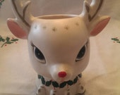 Vintage Mid Century Rudolf Planter Vase by National Lotteries Japan Has been loved
