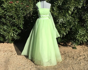 Vintage 50s Mint Green Strapless Lace Rockabilly Party Dress VLV Prom or Formal 34 Bust