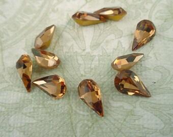 12 Vintage glass smoke topaz pear rhinestones pointyback  10x6 machine cut