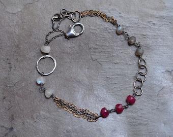 Sterling Silver Ruby Bracelet - Oxidized Silver Link Bracelet - Mixed Metal Bracelet  - Labradorite Bracelet - Moonstone Bracelet