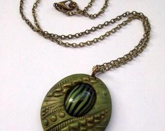 HALF OFF SALE Autumn Elegance Polymer Clay Pendant Necklace