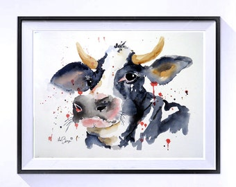 Cow Artwork Original art Original Watercolor Painting Farmland animal funny animal art cottage chic Farm house decor Wall art 14 x 10