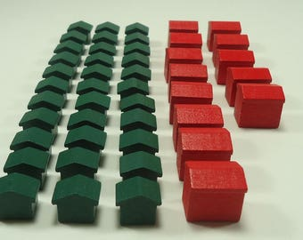 Wood Monopoly Hotels and Houses 46 Piece Set