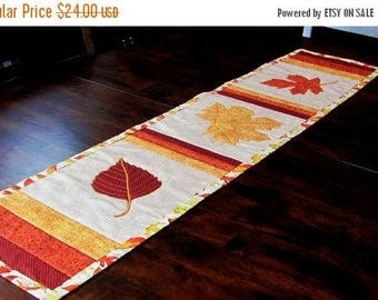 on sale fall leaf decor, cotton table runner, table, buffet, sideboard topper, decor for fall entertaining, thanksgiving decor