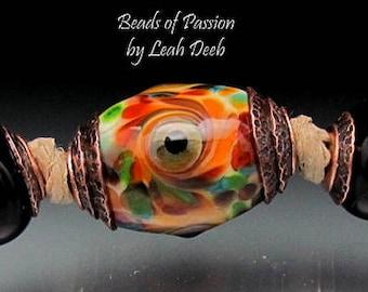 BHB Glass Beads of Passion Leah Deeb - 3pc Rich Swirl Big Hole Capped Set