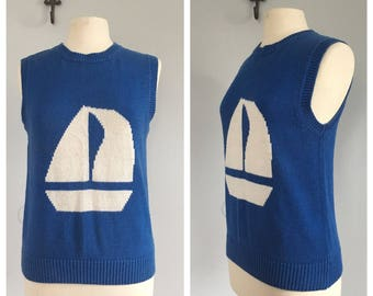 Vintage sailboat sweater vest blue and white faded nautical sweater
