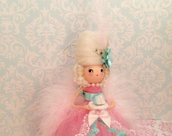 Marie Antoinette art doll pink and blue let them eat cake french France Paris vintage retro inspired