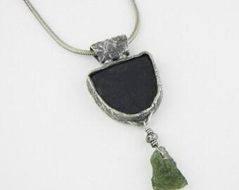 Absolute Black Jade, Moldavite, Textured Silver Neckalce