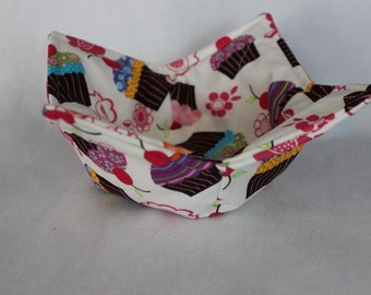 Reversible Quilted Microwave Bowl Cozy Pot Holder Bowl Holder Cupcakes