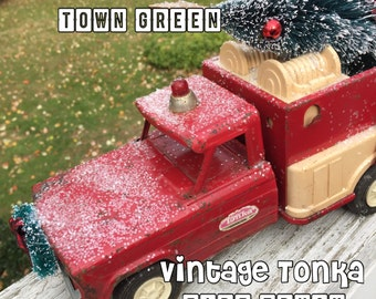 Vintage Tonka Fire Truck - Headed to the Town Green for Christmas With the Tree - Home for the Holidays!
