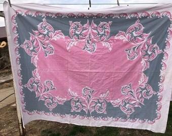 Vintage Pink and Blue Leaf Print Tablecloth