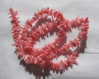 """16"""" Strand Permanently Dyed Pink Coral Small Branch Beads Center Drilled A124"""
